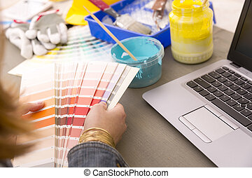 selección, concepto, trabajando, color, -, diseño, decoración, mujer, muestras, interior, renovación