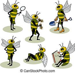 selección, de, vector, abejas