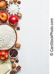 selección, hornada, manzana, ingredientes, de madera, pastel, fondo., cupcakes, blanco, o