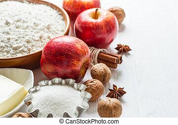 selección, ingredientes, foco, pastel, baking., otoño, canela, selectivo, manzanas, molletes, o
