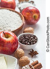 selección, manzana, ingredientes, pastel, foco, selectivo, baking., o, pasteles