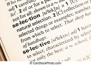 selección, palabra
