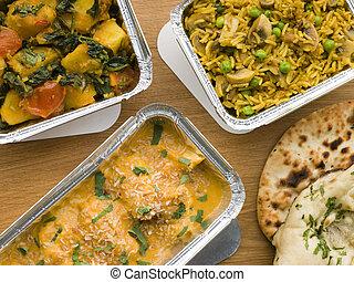 selección, platos, lejos, hojuela, indio, toma, contenedores