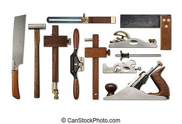 selección, precisión, blanco, herramientas, fondo, carpintería