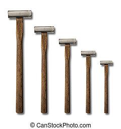 selección, precisión, martillos, blanco, fondo, carpintería