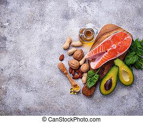 selección, sources., sano, grasa, 3, omega