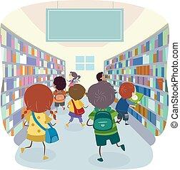 selección, stickman, tienda, niños, libro