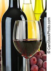 seleccionar, diferente, garrafas, composição, vinho