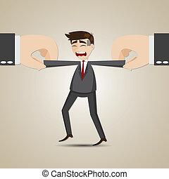 selecionado, mão, puxando, outro, homem negócios, caricatura