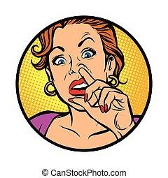selecionando nariz, símbolo, icon.woman