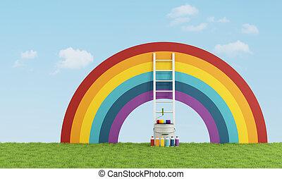 selecione, degradação de cor (color switch) (br), pintar, a, céu