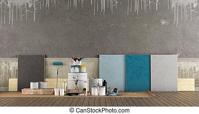 selecione, degradação de cor (color switch) (br), pintar, antigas, parede