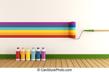 Select color swatch to paint wall in a empty room with ...