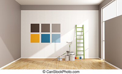 Select color swatch to paint wall in a minimalist room -...