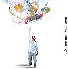 Select instrument - Musician chooses his instrument in...