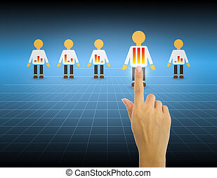 Hand select people with blue background.