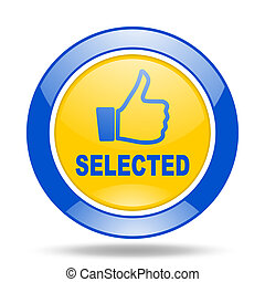 selected blue and yellow web glossy round icon