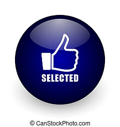 Selected blue glossy ball web icon on white background. Round 3d render button.