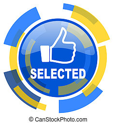 selected blue yellow glossy web icon