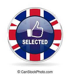 selected british design icon - round silver metallic border button with Great Britain flag