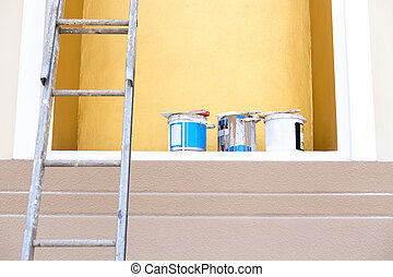 Selected focus buckets color paint with paint brush on top and ladder