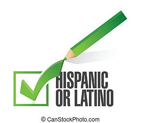 selected hispanic or latino with check mark. illustration...