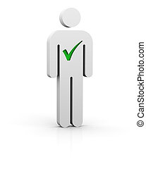 Selected man - Man with green tick symbol in white ...
