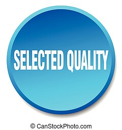 selected quality blue round flat isolated push button