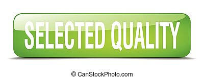 selected quality green square 3d realistic isolated web button