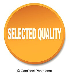 selected quality orange round flat isolated push button