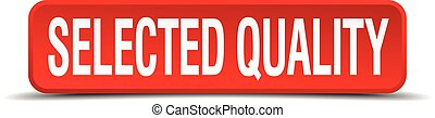 selected quality red 3d square button isolated on white