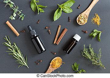 selectie, donker, keukenkruiden, achtergrond, oliën, essentieel