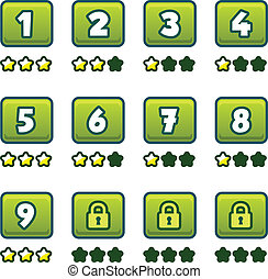 selectie, groene, niveau
