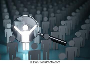 selectie, personeel, mensen, velen, concept., een, menigte, stander, bewindvoering, loupe, glowing., verschil, uit