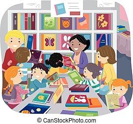 selectie, stickman, geitjes, verkoop, boek, ouders
