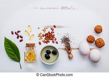 selectie, voedingsmiddelen, bronnen, van, omega 3, en,...