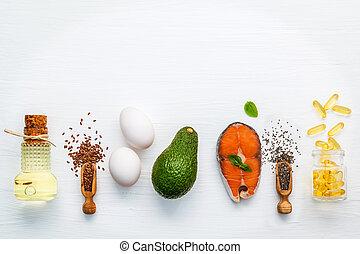 selectie, voedingsmiddelen, bronnen, van, omega 3