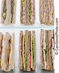 selectie, weg, plastic, sandwiches, driehoeken, nemen