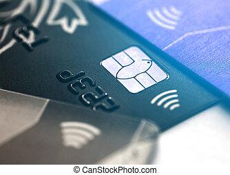 selectief, microchip., krediet, card., contactless, elektronisch, macro, kaart, brandpunt