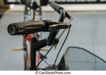 selectieve nadruk, dichtbegroeid boven, fiets hengsel