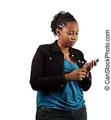 Selection - A pretty young adult scrolling through her...