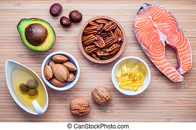 Selection food sources of omega 3 and unsaturated fats. ...
