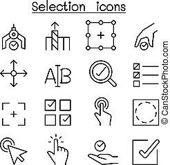 Selection icon set in thin line style