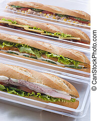 Selection Of Baguettes In Plastic Packaging