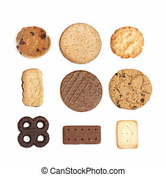 selection of different types of biscuit on a white background