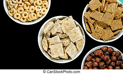 Selection of Bowls of Healthy Eating Breakfast Cereal