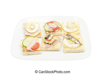 Selection of canapes on a plate