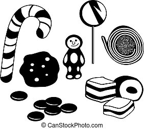 candy - selection of candy and sweet edibles isolated on...