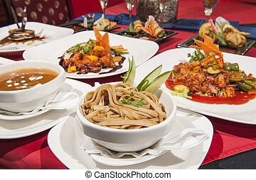 Selection of chinese food in a restaurant - Various...