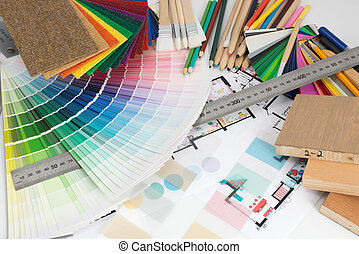 Selection of colors and materials for home renovation -...
